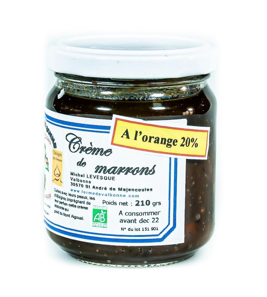 Crème de marrons BIO aux confits d'oranges 210g - Ferme de Valbonne