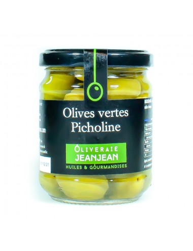 Olive verte PICHOLINE 120g Oliveraie Jeanjean